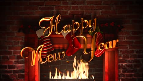 Fireplace-with-gifts-in-the-Christmas-socks-and-Happy-New-Year-text