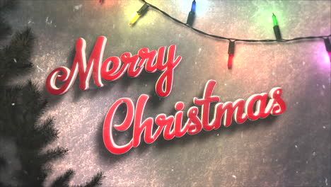 Merry-Christmas-text-with-colorful-garland-and-Christmas-green-tree-branches