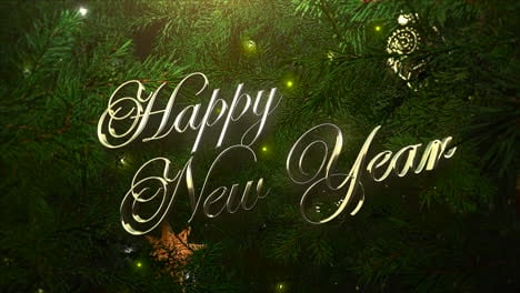 Happy-New-Year-text-with-colorful-balls-and-green-tree-branches-1