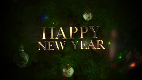 Happy-New-Year-text-with-colorful-balls-and-green-tree-branches