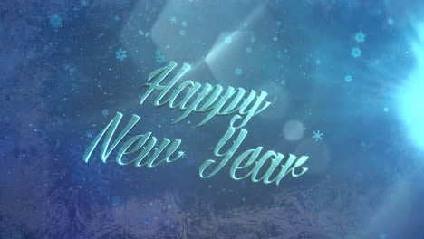 Abstract-blue-snow-falling-and-Happy-New-Year-text