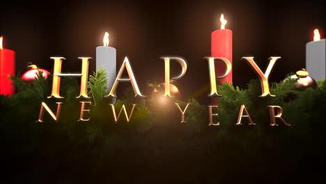 Feliz-Año-Nuevo-Texto-Con-Ramas-De-árboles-Verdes-Y-Velas