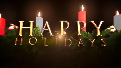 Texto-De-Felices-Fiestas-Con-Ramas-De-árboles-Verdes-Y-Velas