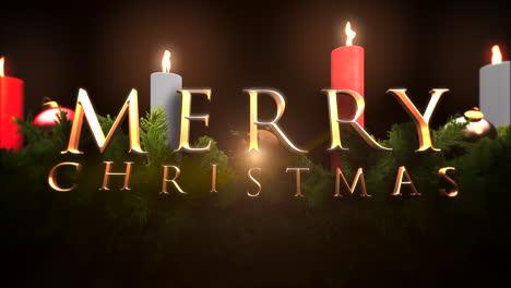 Feliz-Navidad-Texto-Con-Ramas-De-árboles-Verdes-Y-Velas