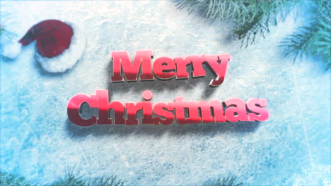 Merry-Christmas-text-with-green-tree-branches-and-toys