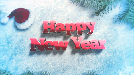 Happy-New-Year-text-with-green-tree-branches-and-toys