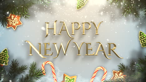 Happy-New-Year-text-with-green-tree-branches-and-toys-1
