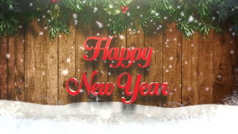 Feliz-Año-Nuevo-Texto-Con-Copos-De-Nieve-Blancos-Y-Fondo-De-Madera