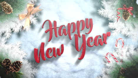 Happy-New-Year-text-with-green-tree-branches-and-toys-2