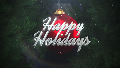 Happy-Holidays-text-and-white-snowflakes-with-red-balls