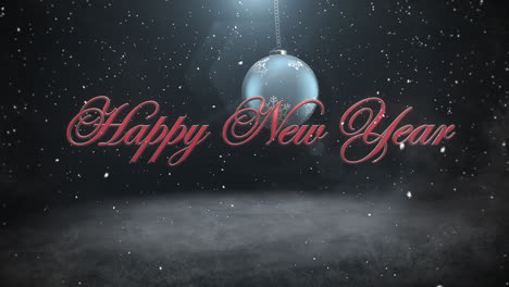Happy-New-Year-text-and-white-snowflakes-with-red-balls