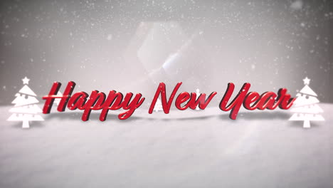 Happy-New-Year-text-with-mountains-with-forest-and-snowing-landscape