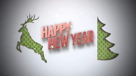 Feliz-Año-Nuevo-Texto-Con-árbol-De-Navidad-Verde-Y-Ciervos