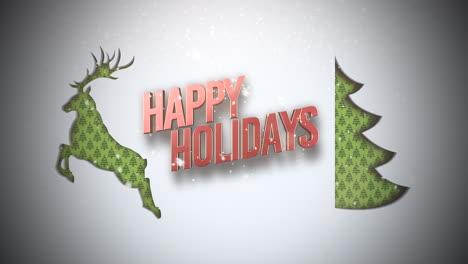 Texto-De-Felices-Fiestas-Con-árbol-De-Navidad-Verde-Y-Ciervos