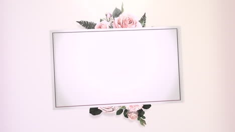 Closeup-vintage-frame-with-flowers-motion-with-wedding-background-1
