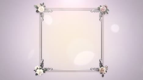 Closeup-vintage-frame-with-flowers-motion-with-wedding-background-4
