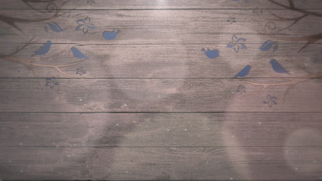 Closeup-motion-birds-on-trees-on-wood-with-wedding-background-3