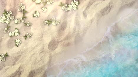 Primer-Plano-De-Una-Playa-De-Arena-Con-Olas-Azules-Del-Océano-Y-Flores-1