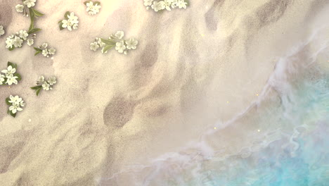 Closeup-sandy-beach-with-blue-waves-of-ocean-and-flowers-3