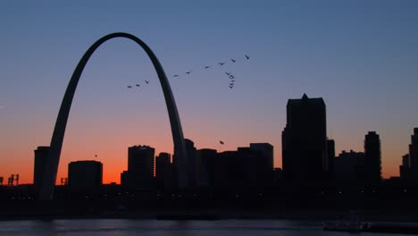 Birds-in-migration-fly-past-the-St-Louis-arch-at-dusk
