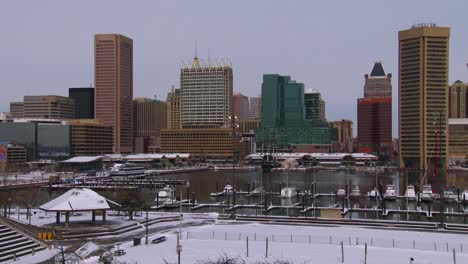 Snow-blankets-downtown-Baltimore-Maryland
