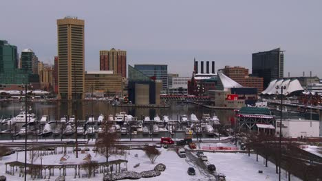 The-cityscape-and-harbor-of-Baltimore-in-winter