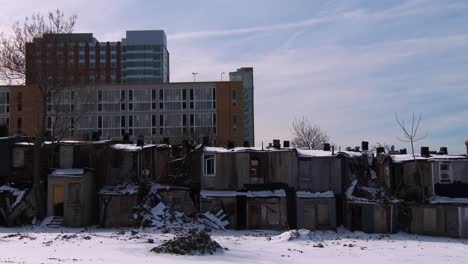 The-poor-live-in-makeshift-slums-during-the-winter-in-an-American-city