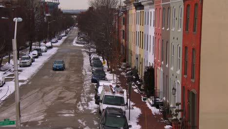 Rowhouses-line-the-streets-of-Baltimore-Maryland