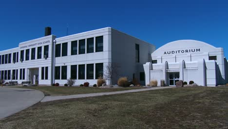 A-classic-1950-s-style-high-school-with-an-auditorium