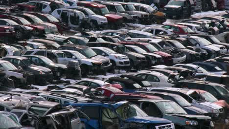 Cars-sit-in-rows-in-a-junkyard-in-the-snow-3