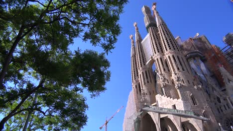 Low-angle-of-the-Sagrada-Familia-cathedral-by-Gaudi-in-Barcelona-Spain