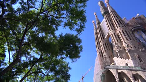 Low-angle-of-the-Sagrada-Familia-cathedral-by-Gaudi-in-Barcelona-Spain-1
