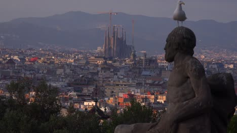View-across-Barcelona-Spain-with-statue-foreground