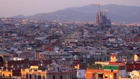 The-skyline-of-Barcelona-Spain-with-Sagrada-Familia-distant