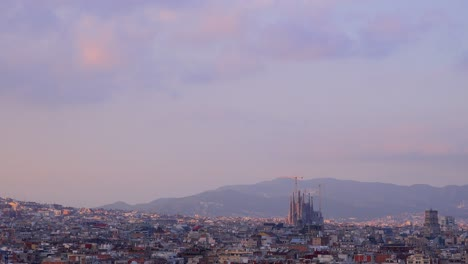 The-distant-skyline-of-Barcelona-Spain-with-Sagrada-Familia-distant
