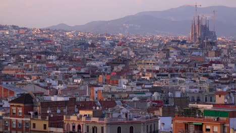 The-distant-skyline-of-Barcelona-Spain-with-Sagrada-Familia-distant-2