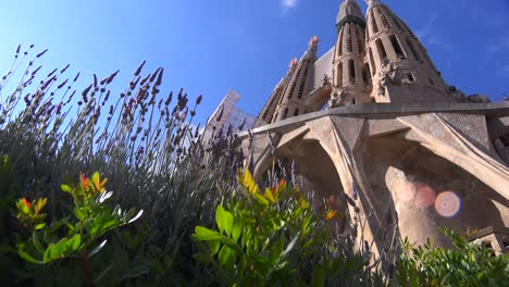 Low-angle-of-the-Sagrada-Familia-Cathedral-by-Gaudi-in-Barcelona-Spain-2