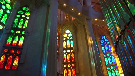 Sunlight-streams-through-stained-glass-in-the-beautiful-interior-of-the-Sagrada-Familia-Cathedral-by-Gaudi-in-Barcelona-Spain-2