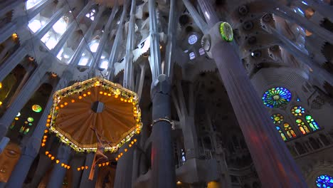 Low-angle-looking-at-the-ceiling-in-the-beautiful-interior-of-the-Sagrada-Familia-Cathedral-by-Gaudi-in-Barcelona-Spain-1