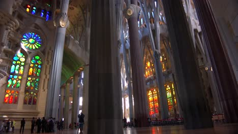Low-angle-looking-at-the-ceiling-in-the-beautiful-interior-of-the-Sagrada-Familia-Cathedral-by-Gaudi-in-Barcelona-Spain-3