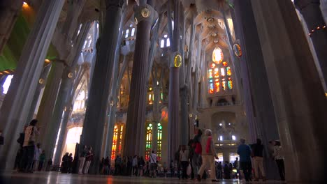 Low-angle-looking-at-the-ceiling-in-the-beautiful-interior-of-the-Sagrada-Familia-Cathedral-by-Gaudi-in-Barcelona-Spain-5