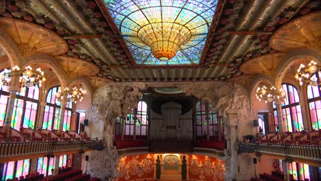 Tilt-down-to-a-beautiful-performing-arts-hall-in-Barcelona-Spain