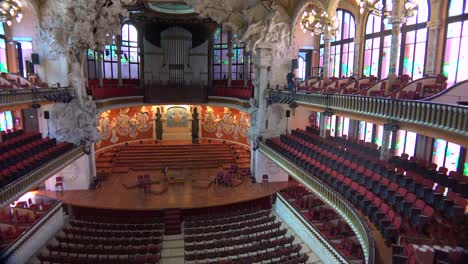 Pan-across-a-beautiful-performing-arts-hall-in-Barcelona-Spain