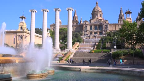 The-National-palace-of-Barcelona-Spain-with-fountains-foreground