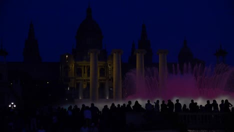 A-beautiful-light-show-and-dancing-fountains-in-front-of-the-National-palace-i-Barcelona-Spain