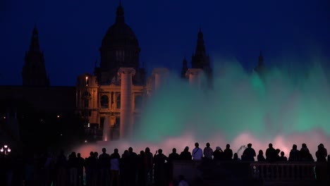 A-beautiful-light-show-and-dancing-fountains-in-front-of-the-National-palace-i-Barcelona-Spain-1