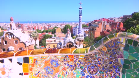 The-bright-and-colorful-artwork-of-Gaudi-in-Park-Guell-Barcelona-Spain