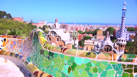 The-bright-and-colorful-artwork-of-Gaudi-in-Park-Guell-Barcelona-Spain-1