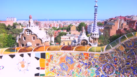 The-bright-and-colorful-artwork-of-Gaudi-in-Park-Guell-Barcelona-Spain-2