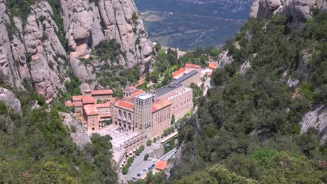 High-angle-view-of-the-Montserrat-Catholic-Monastery-in-Spain